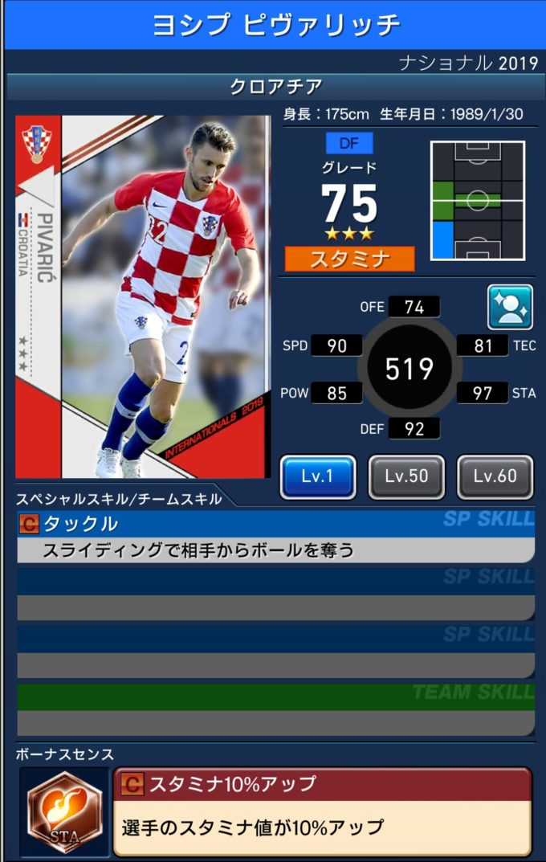 ウイコレ クロアチア代表2019ヨシプ ピヴァリッチ