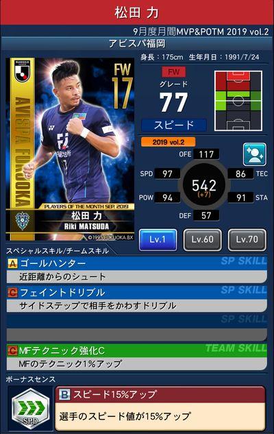 Jクラ_2019年9月度MVP&POTM_松田 力