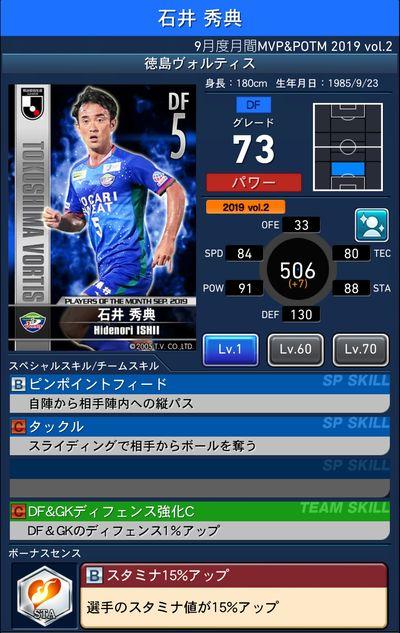 Jクラ_2019年9月度MVP&POTM_石井 秀典