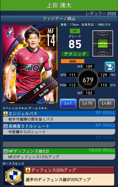 【Jクラ】ファジアーノ岡山レギュラー2020 選手カード一覧